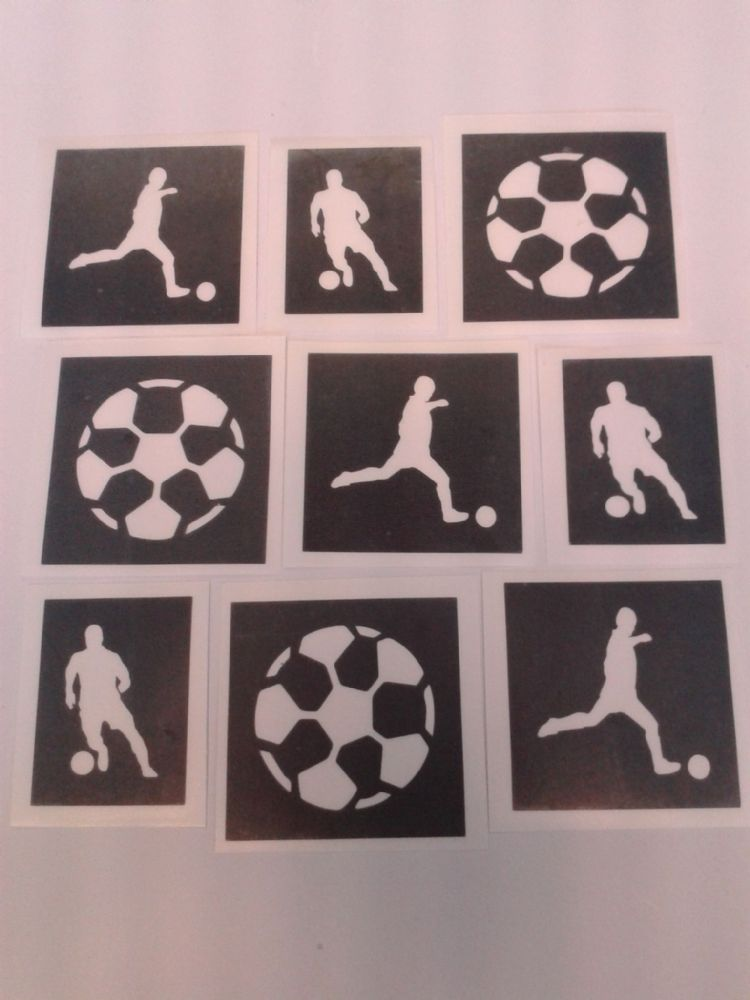 Football Amp Footballer Mixed Stencils For Etching On Glass